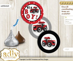 Printable  Boy Tractor Candy Kisses for Baby Boy Shower DIY Red Black , Farmer