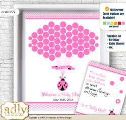 Girl Ladybug Guest Book Alternative for a Baby Shower, Creative Nursery Wall Art Gift, Pink Black, Polka