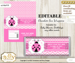 Personalizable Girl Ladybug Chocolate Bar Candy Wrapper Label for Girl  baby shower, birthday Pink Black , editable wrappers