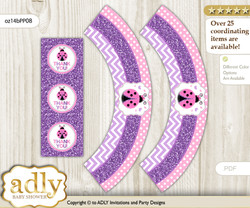 Printable Purple Ladybug Cupcake, Muffins Wrappers plus Thank You tags for Baby Shower Pink Polka, Glitter