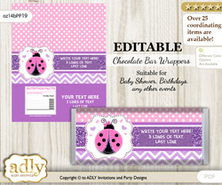 Personalizable Purple Ladybug Chocolate Bar Candy Wrapper Label for Purple  baby shower, birthday Pink Polka , editable wrappers