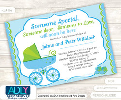 Boy Carriage Stroller Invitation for Baby Shower with Lime Green and Blue colors, baby stroller, boy baby carriage