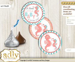 Printable  Baby Seahorse Candy Kisses for Baby Baby Shower DIY Coral , Turquoise