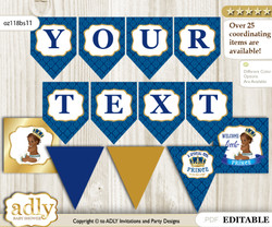 DIY Personalizable King Prince Printable Banner for Baby Shower, Royal blue, African