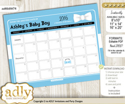 DIY Boy Bow tie Baby Due Date Calendar, guess baby arrival date game