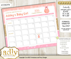 DIY Coral Girl Baby Due Date Calendar, guess baby arrival date game