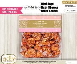 DIY Text Editable Coral Girl Goodie  Treat Bag Toppers, Favor Bag Digital File, print at home