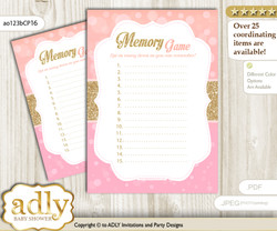 Coral Girl Memory Game Card for Baby Shower, Printable Guess Card, Pink Gold, Glitter