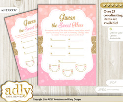 Coral Girl Dirty Diaper Game or Guess Sweet Mess Game for a Baby Shower Pink Gold, Glitter