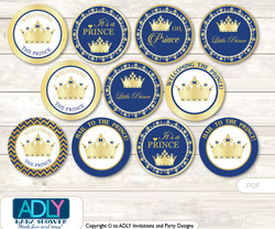 Baby Shower  Crown  Prince Cupcake Toppers Printable File for Little  Crown  and Mommy-to-be, favor tags, circle toppers,  Chevron ,  Gold Blue