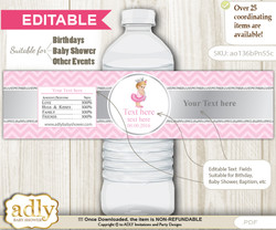 DIY Text Editable Royal Princess Water Bottle Label, Personalizable Wrapper Digital File, print at home for any event