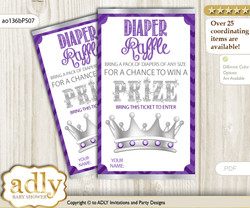 African Princess Diaper Raffle Printable Tickets for Baby Shower, Purple Silver, Chevron