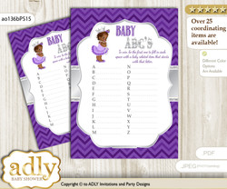 African Princess Baby ABC's Game, guess Animals Printable Card for Baby Princess Shower DIY – Chevron n