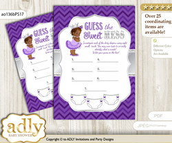 African Princess Dirty Diaper Game or Guess Sweet Mess Game for a Baby Shower Purple Silver, Chevron
