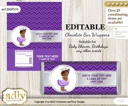 DIY Personalizable African Princess Chocolate Bar Candy Wrapper Label for African  baby shower, birthday Purple Silver , editable wrappers