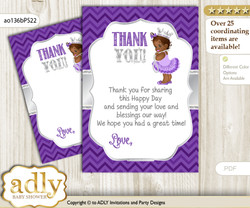 African  Princess Thank you Cards for a Baby African Shower or Birthday DIY Purple Silver, Chevron