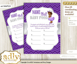 African Princess Guess Baby Food Game or Name That Baby Food Game for a Baby Shower, Purple Silver Chevron