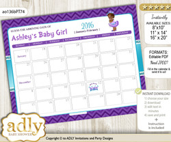 DIY African Princess Baby Due Date Calendar, guess baby arrival date game nn