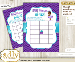 Printable Purple Teal Princess Bingo Game Printable Card for Baby African Shower DIY grey, Purple Teal, Chevron