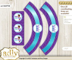 Printable African Princess Cupcake, Muffins Wrappers plus Thank You tags for Baby Shower Purple Teal, Chevron