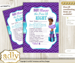 Printable African Princess Price is Right Game Card for Baby Princess Shower, Purple Teal, Chevron