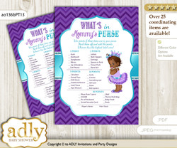 African Princess What is in Mommy's Purse, Baby Shower Purse Game Printable Card , Purple Teal,  Chevron