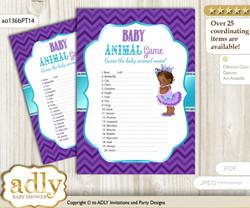 Printable African Princess Baby Animal Game, Guess Names of Baby Animals Printable for Baby Princess Shower, Purple Teal, Chevron