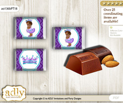 African Princess Chocolate Nuggets Candy Wrapper Label for Baby African Shower  Purple Teal , Chevron