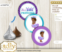 Printable  African Princess Candy Kisses for Baby African Shower DIY Purple Teal , Chevron