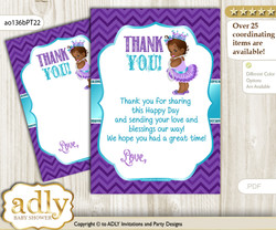 African  Princess Thank you Cards for a Baby African Shower or Birthday DIY Purple Teal, Chevron