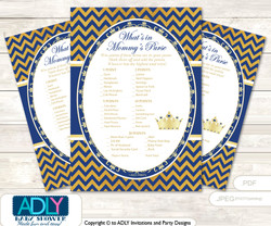 Crown  Prince What is in Mommy's Purse, Baby Shower Purse Game Printable Card ,  Gold Blue ,  Chevron