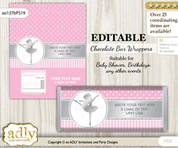 DIY Personalizable Ballet Ballerina Chocolate Bar Candy Wrapper Label for Ballet  baby shower, birthday Pink Silver , editable wrappers