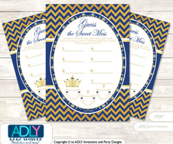 Crown  Prince Dirty Diaper Game or Guess Sweet Mess Game for a Baby Shower  Gold Blue ,  Chevron
