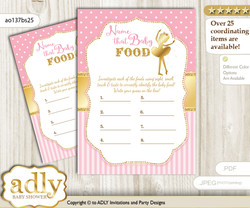Ballet Ballerina Guess Baby Food Game or Name That Baby Food Game for a Baby Shower, Pink Gold Polka