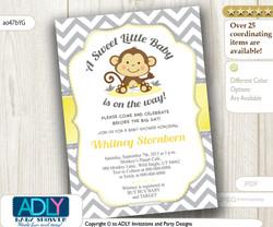Yellow Grey Monkey Shower Invitation for Unisex, Neutral Baby Shower