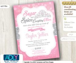 Silver Pink Tiara Girl Shower Invitation for little princess