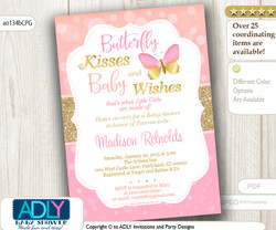 Coral Pink and gold Butterfly Wishes Invitation