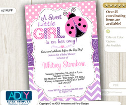 Purple and Pink Ladybug Baby Shower Digital Invitation