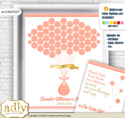 Baby Girl Guest Book Alternative for a Baby Shower, Creative Nursery Wall Art Gift, Peach Pink, Glitter