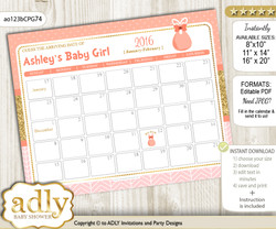 DIY Baby Girl Baby Due Date Calendar, guess baby arrival date game