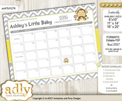 DIY Boy Girl Monkey Baby Due Date Calendar, guess baby arrival date game