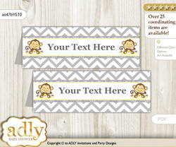 DIY Text Editable Printable Boy Girl Monkey Buffet Tags or Food Tent Labels  for a Baby Shower or Birthday , Yellow Grey, Chevron