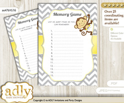 Boy Girl Monkey Memory Game Card for Baby Shower, Printable Guess Card, Yellow Grey, Chevron