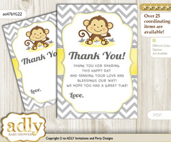 Boy Girl  Monkey Thank you Cards for a Baby Boy Girl Shower or Birthday DIY Yellow Grey, Chevron
