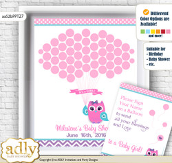 Girl Owl Guest Book Alternative for a Baby Shower, Creative Nursery Wall Art Gift, Pink Teal, Purple n