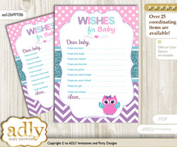 Girl Owl Wishes for a Baby, Well Wishes for a Little Owl Printable Card, Purple, Pink Teal
