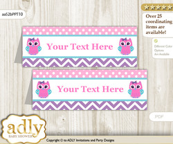 DIY Text Editable Printable Girl Owl Buffet Tags or Food Tent Labels  for a Baby Shower or Birthday , Pink Teal, Purple