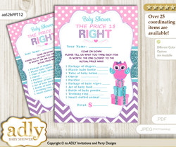 Printable Girl Owl Price is Right Game Card for Baby Owl Shower, Pink Teal, Purple