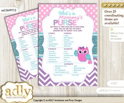 Girl Owl What is in Mommy's Purse, Baby Shower Purse Game Printable Card , Pink Teal,  Purple