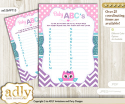 Girl Owl Baby ABC's Game, guess Animals Printable Card for Baby Owl Shower DIY – Purple